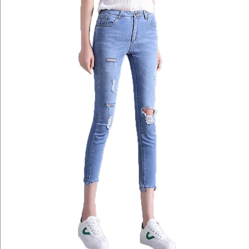 New Ripped Hole Pencil Pants Denim Trousers Summer Sexy Elegant Skinny Vintage Mid Waist Jeans Plus Size Slim Ankle-length Pants 2017 fashion women jeans retro style floral embroidery ripped hole denim pencil pants vintage mid waist ankle length trousers
