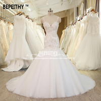 2017 Robe De Mariage Lace Wedding Dress With Crystals Vestido De Novia Casamento Spaghetti Straps Sexy Wedding Gowns