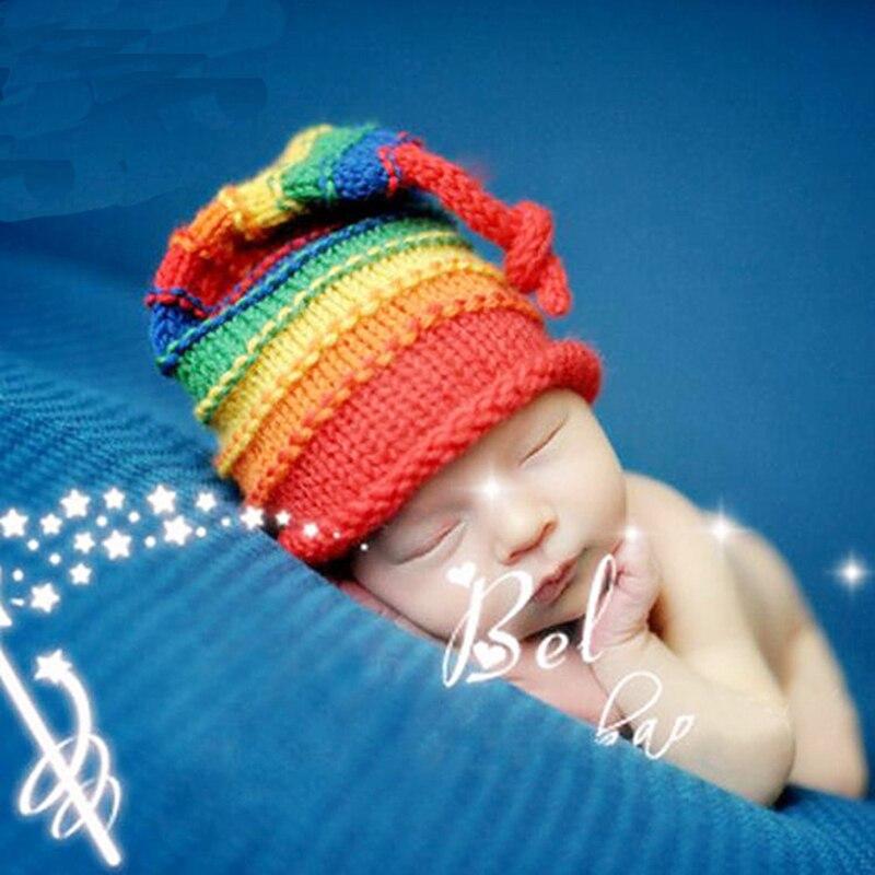 Infant Baby Girl Boy Crochet Rainbow Hat Photography Props Newborn Baby Caps Photo Shoot Studio Accessories fotografie Props