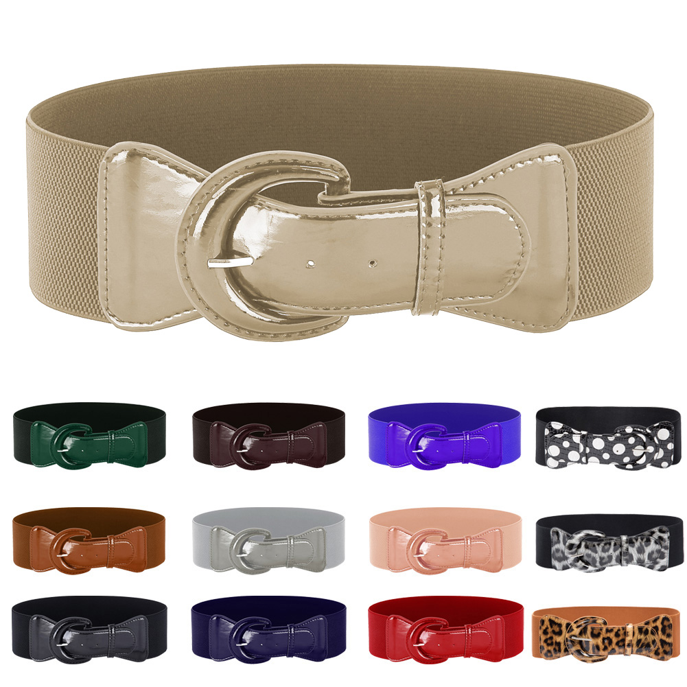 Belle Poque Fashion Women's Wide Belt Faux Leather 2018 Stretchy Elastic Solid Casual Waist Belts Waistband for Ladies' Dress