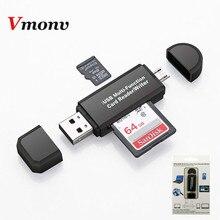 Vmonv 2 في 1 USB وتغ قارئ بطاقات فلاش محرك عالية السرعة USB2.0 وتغ TF/SD بطاقة لالروبوت الهاتف الكمبيوتر PC الذاكرة قارئ بطاقات