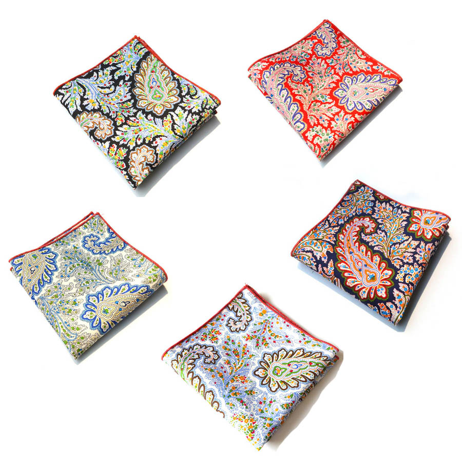 3pieces/lot Europe And America Latest Men's Formal Clothes Cotton Hanky Cashew Print Pocket Square Handkerchiefs 25*25cm 6Items