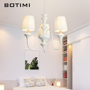 Image 5 - BOTIMI Nordic LED Chandelier With Fabric Lampshade For Living Room Blue Chandeliers Lighting Modern White Hanging Light Bedroom