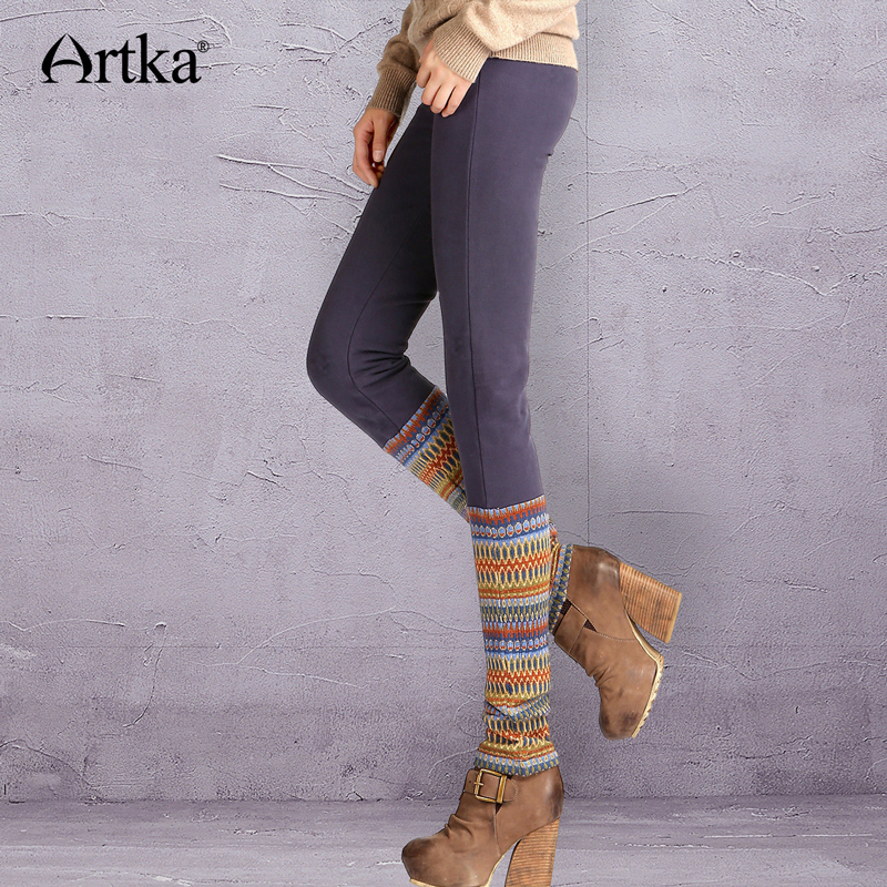 ARTKA Women's Autumn Winter Vintage Elastic Collect Waist Contrast Color Patchwork Knit Slim Cotton   Leggings   KA10442Q