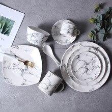 Marble pattern china Porcelain Dinner Dining Snacks Desserts Salad Fruit Plate Serving Dish Tableware Dinnerware Microwave safe