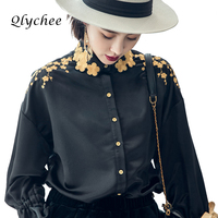 Qlychee Spring Autumn Vintage Women S Golden Plum Blossom Embroidery Bow Blouse Shirt Loose Shirts Ladies