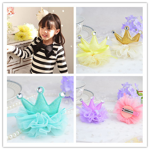 New Cheap Dress Headwear Chiffon Shiny Crown Hairpins Kids Accessories Children Hair Accessories Baby Hair Clip 6pcs lot kids glitter color hair snap clip kids stars headwear five pointed stars hairpins hair accessories