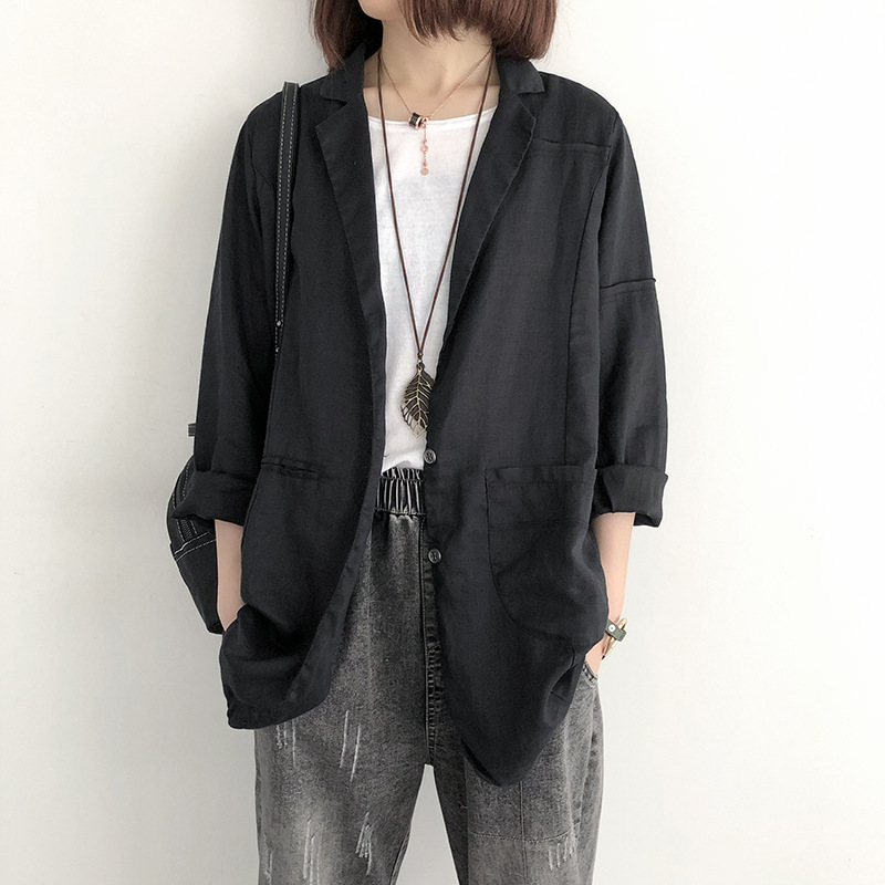 2019 Loose cotton linen suit jacket female casual slim shirt Female Work Office Lady solid color