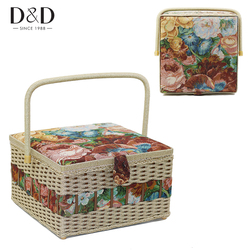 D&D Fashion Household Sewing Basket Storage Box Large Handmade Wood&Fabric Crafts Sewing Box Organizer with Sewing Accessories
