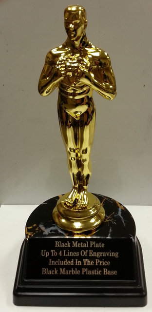 oscar statuette trophy gold finish award figure with black marble color base plastic replica in. Black Bedroom Furniture Sets. Home Design Ideas