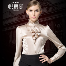2017 new autumn fashion women's clothing high quality silk shirt female long-sleeve top sericiculture silk shirt stand collar