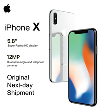 Apple teléfono inteligente iPhone X con pantalla OLED de 5,8 pulgadas, dispositivo móvil con pantalla de Retina 4G LTE, cámara frontal de 12MP, Bluetooth, IOS 11, resistente al agua IP67