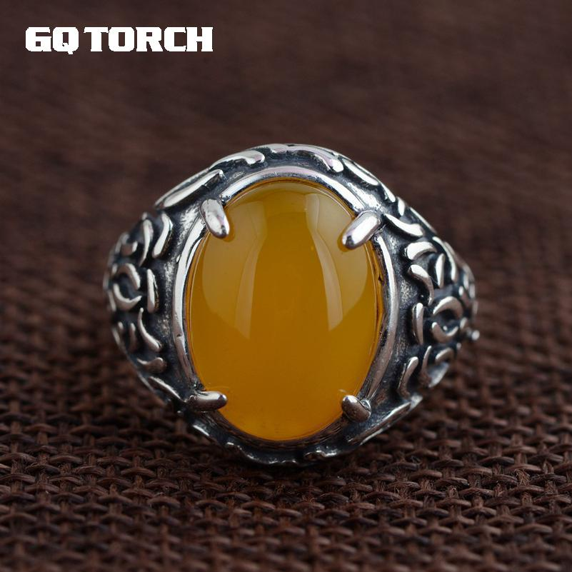 GQTORCH 925 Sterling Silver Rings For Women Big Natural Stone Yellow Chalcedony Inlaid Vintage Flower Carving Claw Setting 925 sterling silver ring natural yellow chalcedony stone 100