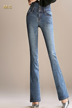 Хлопок джинсы повседневная тощий flare брюки для женщин плюс размер черный синий похудения высокая талия кнопка осень kpr0605