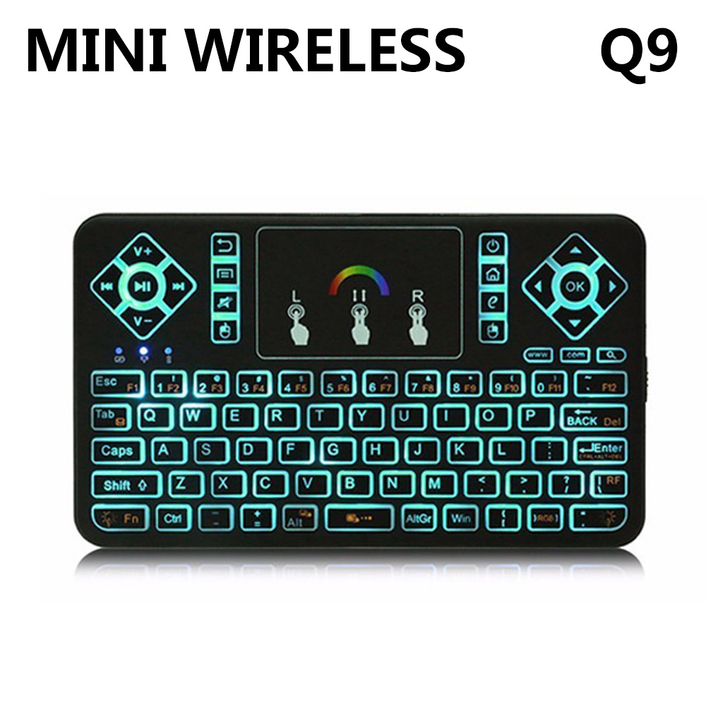 TZ Q9 2.4GHz Wireless Keyboard RGB Backlit Touchpad for Android/Google Smart TV Air Mouse Mini Teclado VS I8