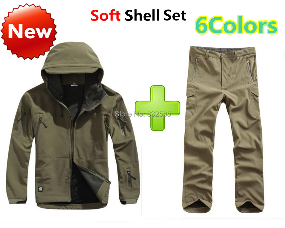 все цены на Waterproof TAD Gear Men Outdoor Military Tactical Clothing Fleece Shark Skin Soft Shell Suit Set Jacket + Pant Free Shipping