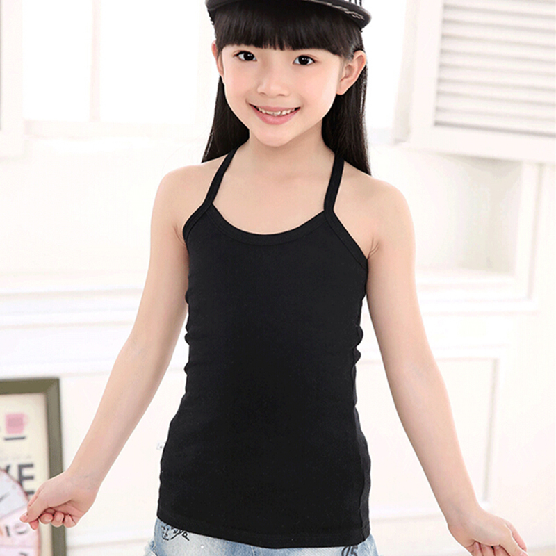 New Solid Tanks For Girls Cotton Comfortable Sling Slim Clothes Fashion Camisole Kids Underwear Children Clothing Free Shipping (3)