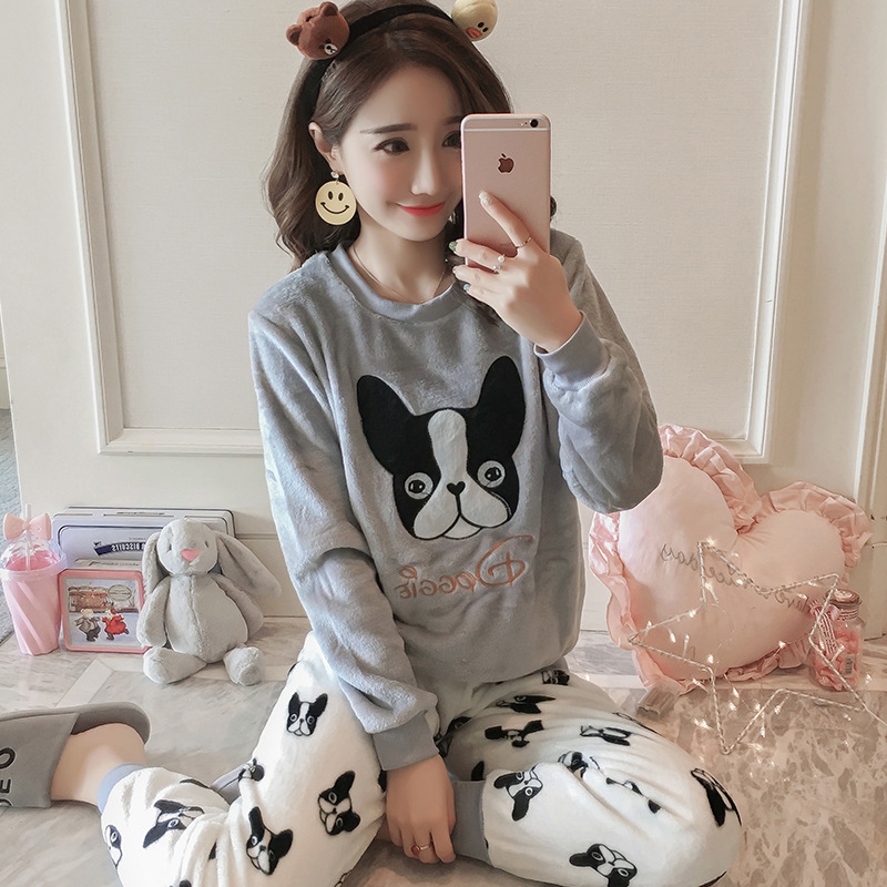 2 PIECE Flannel Pajama Set Cute Dog Top + Long Pants Nightwear Home Wear Women Print Lingerie Winter Warm Pyjama Round Neck