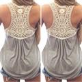 2016 Verano Nueva Moda Para Mujer Camiseta Sin Mangas A Rayas tops de Encaje Sexy Crochet Back Hueco-Hacia fuera de la Mujer Camisola Chaleco Ocasional Tank Tops