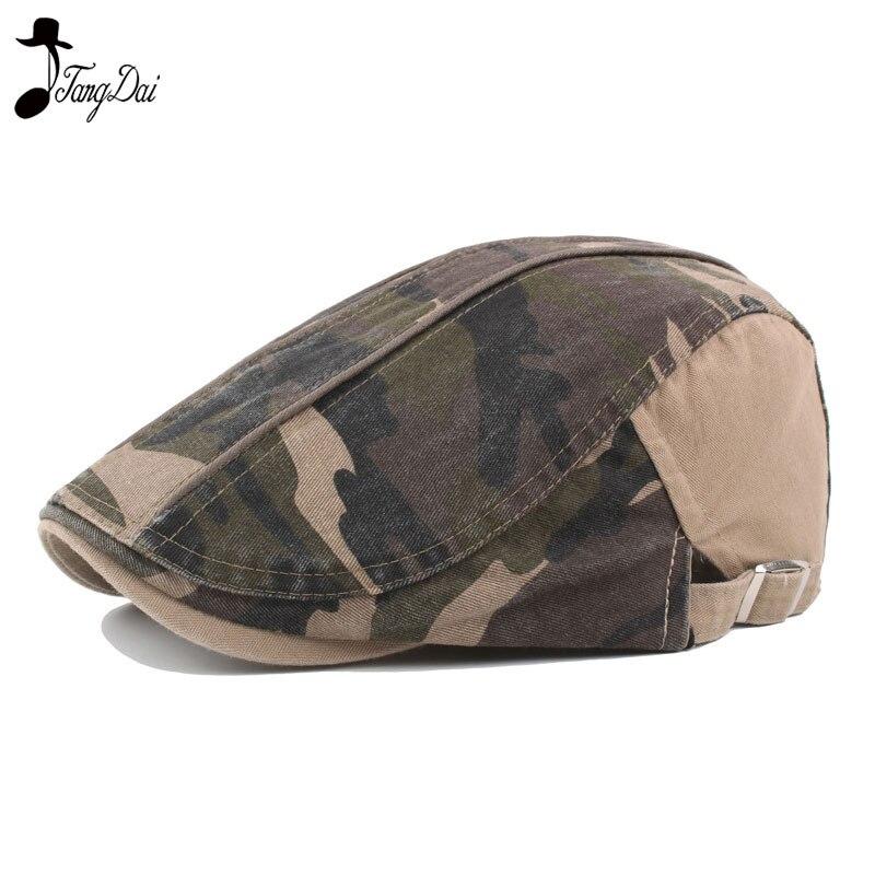 Unisex Camouflage Cap Casual Beret Hats Casquette Boina Adjustable Buckle Visors Golf Ha Driving Flat Detective Hat Newsboy Cap