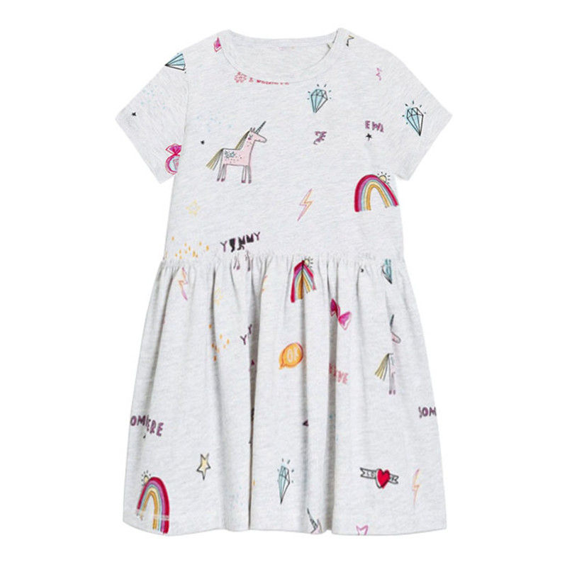 NEW Girls Unicorn Gray Short Sleeve Tunic Dress 3T 4T 5T 6