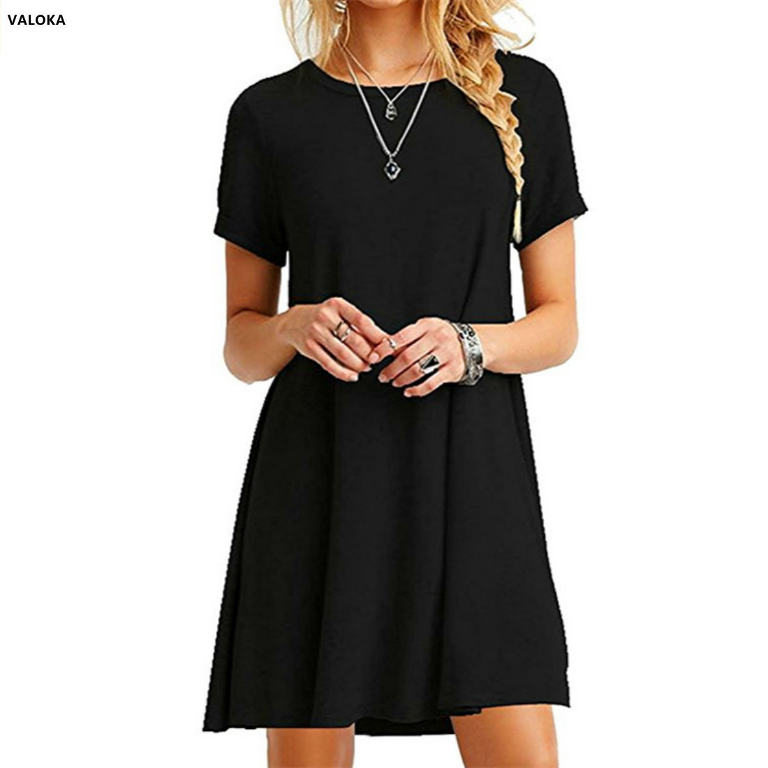 VALOKA Womens Casual Plain Short Sleeve Simple T-Shirt Loose summer women Dress vestido
