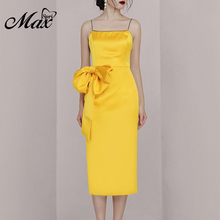 Max Spri 2019 New Fashion Sexy Spaghetti Straps Low-Back Silk Midi Dress Oversized Bow Tie Back Slit Women Party Outfit yellow bow tie front strapless zip back design midi dress