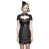 PUNK RAVE Steampunk Gothic Women Military Uniform Striped Dresses Vintage Leather Short Sleeve Female Evening Party Sexy Dress
