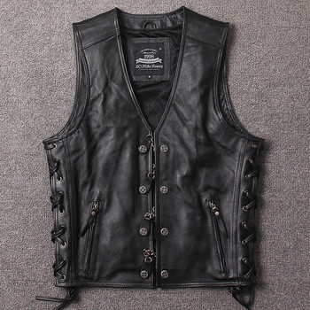 2019 Black Men Genuine Motorcycle Leather Vest Plus Size XXXXL Cowhide Slim Fit Short Chains Biker's Leather Vest  FREE SHIPPING