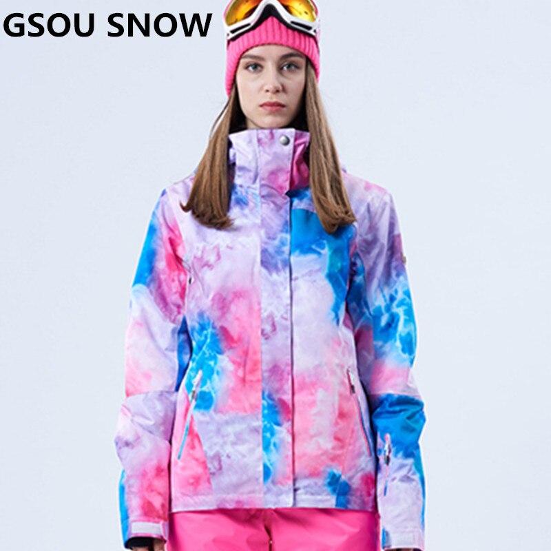 GSOU neige nouvelles filles veste de neige manteau de Snowboard imperméable 10000 respirant 10000 femmes veste de Ski en plein air Ski vêtements de Ski