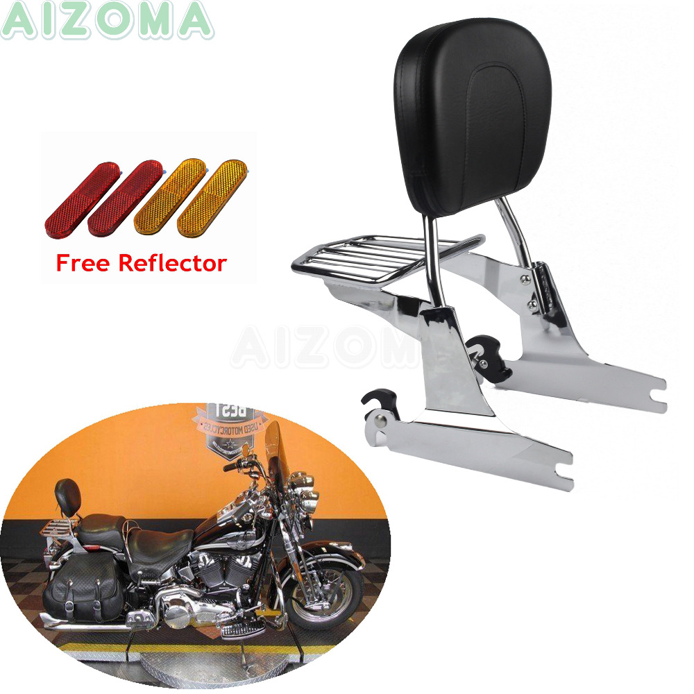 For 2000 Up Harley Softail Chrome Motorcycles Sissy Bar Seat Pad Back Backrest w Detachable Luggage