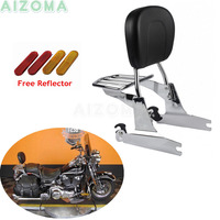For 2000 2005 Harley Softail Chrome Motorcycles Sissy Bar Seat Pad Back Backrest w/Detachable Luggage Rack Heritage Standard