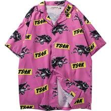 Summer Angel Printing Aloha Hawaii Beach Shirts Men 2019 Summer Casual Short Sleeve Streetwear Hawaiian Shirt Fashion Tops bob dong one hundred tigers hawaiian shirts men tropical aloha short sleeve