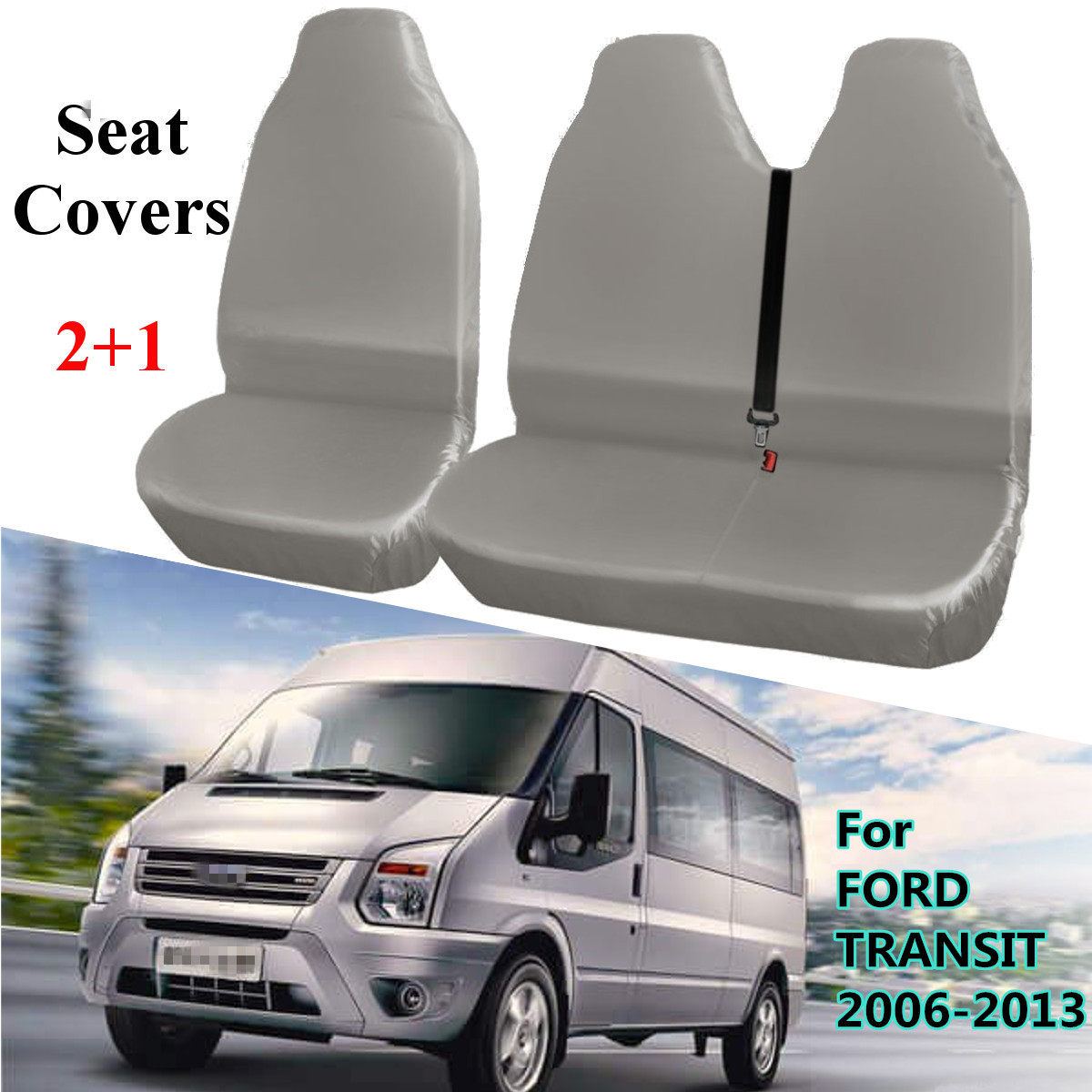 2 + 1 Grau Universelle Wasserdichte Van Autos Sitzbezüge Schutzfolie für FORD TRANSIT 2006-2013