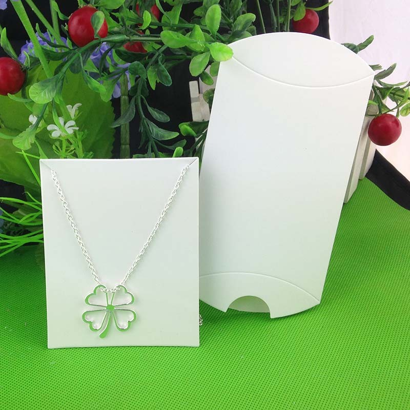 1lot-100-box-100-cards-White-Pillow-box-Necklace-Card-Display-Packing-Wedding-Favour-Box-Custom