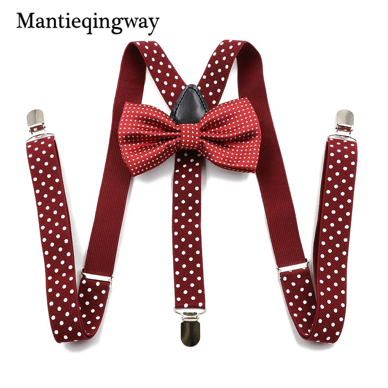 Mantieqingway Unisex Suspenders Bowtie Sets 3 Clip-on Y Back Elastic Suspenders Polka Dots Printed Braces Belt Strap For Mens