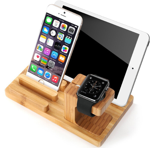 Multi-Function Natural Bamboo Wood Charge Station Charging Dock Cradle Stand Holder For Ipad iPhone 6 6S Plus 5 5S For i Watch