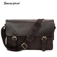 SOURCE POINT Retro Trend Crazy Horse Leather Men Messenger Bags Fashion Cowhide Leather Shoulder Bags For