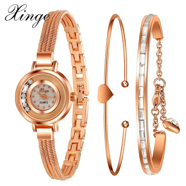 a019464ca31 Xinge Luxury Brand Women Dress Fashion Rose Gold Bracelet Watch Crystal  Girl Female Hot Jewelry Clock