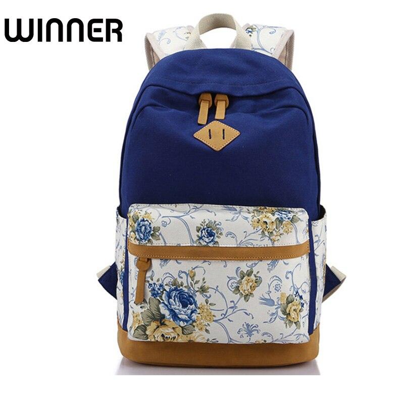 Floral Canvas Printing Women Bagpack High Schoolbag Student Backpacks for School Teenagers Girls Rucksack
