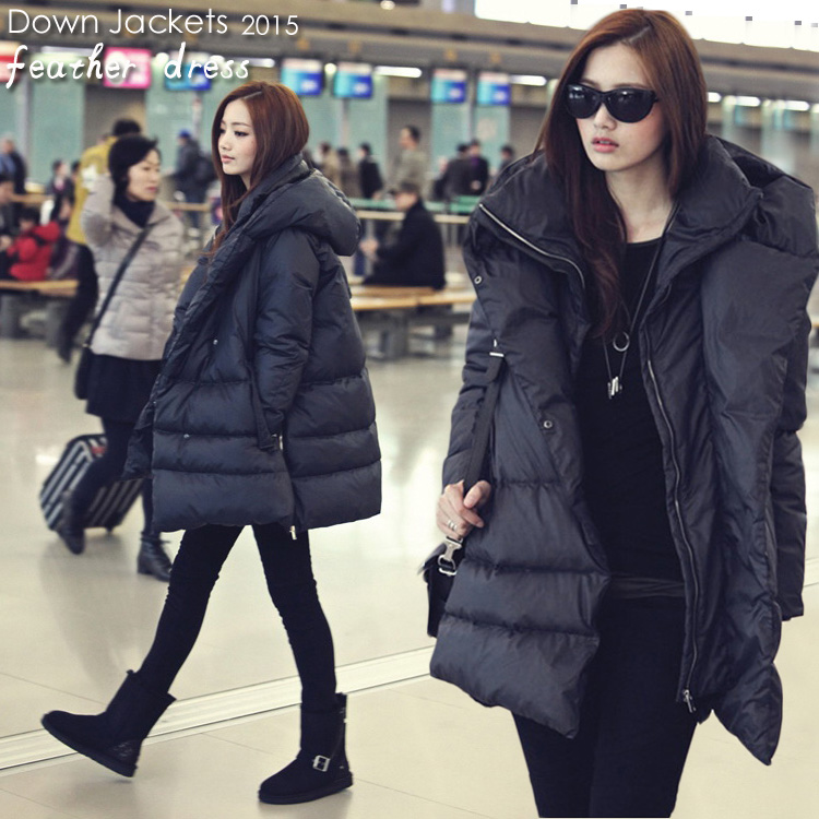2018 hot new black navy blue   down   jackets casual style large size winter   coats   for women