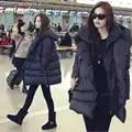 2019 Горячая новинка черный темно синий пуховик Повседневный стиль Большие размеры зимние пальто для женщин