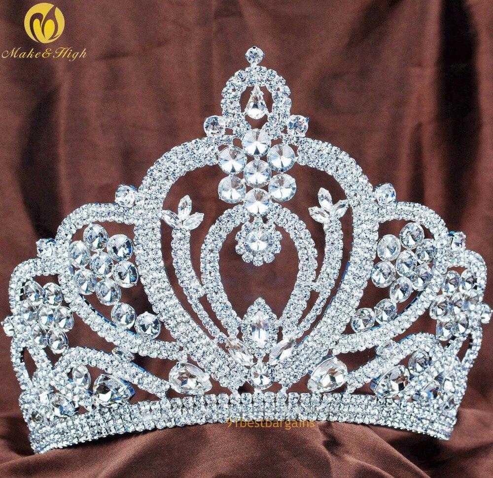 """Duży 6 """"korowód Brides Tiara z pałąkiem na głowę ślubne do włosów dla nowożeńców korona wyczyść austriackie Rhinestone Prom stroje imprezowe w Biżuteria do włosów od Biżuteria i akcesoria na  Grupa 1"""