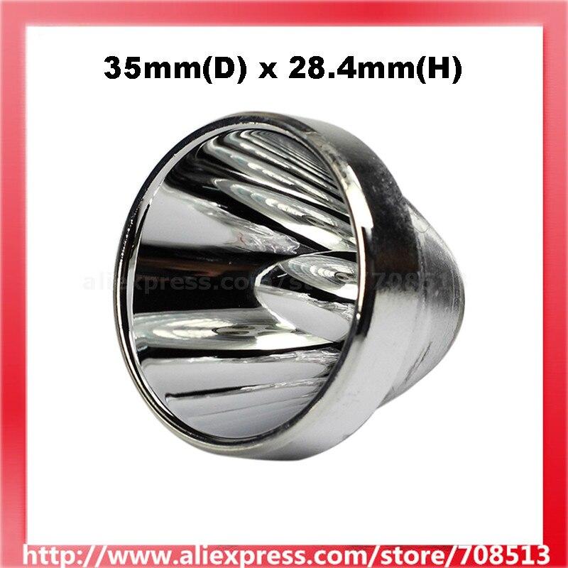 35mm(D) X 28.4mm(H) SMO Aluminum Reflector For Cree XM-L / XP LED