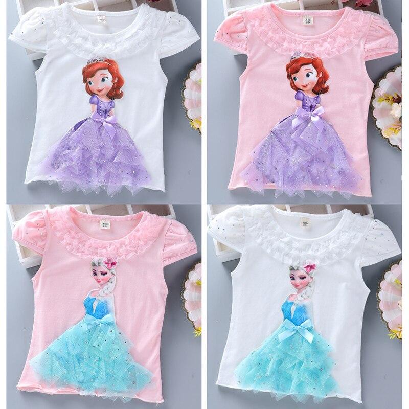 Girls New Summer Princess T-Shirt Elsa Childen Cotton Tees Lace T Shirt 3D Diamond Appliques Kids Birthday Party Top Clothing 4