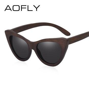 c028b98f96 AOFLY mujeres de diseñador de marca, gafas de sol polarizadas lente ojo de  gato clásico de madera Vintage, gafas de sol para mujer gafas de sol de  UV400 ...