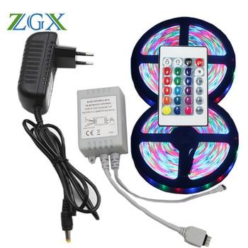 RGB LED Strip light lamp 5M 10M 5050 2835 Decor Flexible ribbon waterproof diode tape tiras Remote Controller DC 12V adapter set