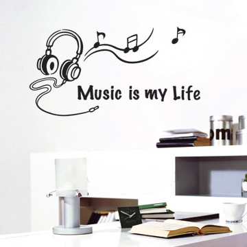 large music wall stickers decoration glass stickers mural ...