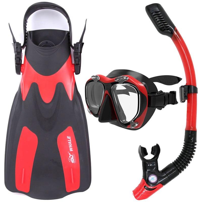 2019 équipement de plongée de baleine natation Sports nautiques palmes de plongée avec tuba masque de plongée lunettes Flippers ensemble lunettes de natation