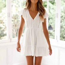 Summer Short Sleeve A Line Mini Dress Casual White Ruffle Hem Hollow Out Floral Lace Boho Dress Female V Neck Pocket Beach Dress ruffle hem floral bardot dress